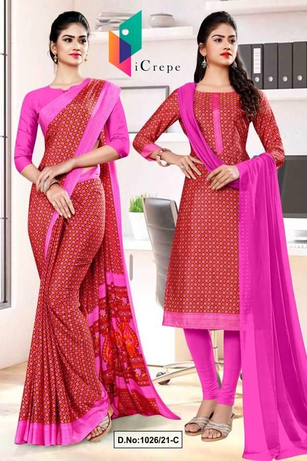 brown-pink-small-print-premium-italian-silk-crepe-saree-salwar-kameez-for-front-office-uniform-sarees-1026-C