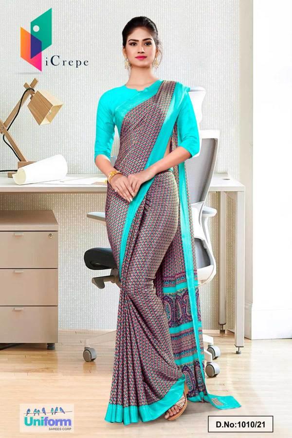 brown-sea-green-paisley-print-premium-italian-silk-crepe-saree-for-staff-uniform-sarees-1010-21