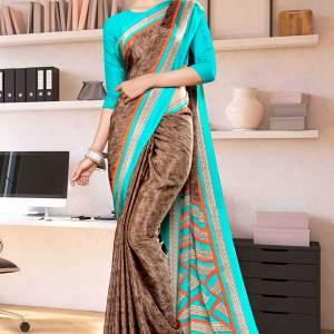 brown-sea-green-premium-italian-silk-crepe-saree-for-receptionist-uniform-sarees-1030-21