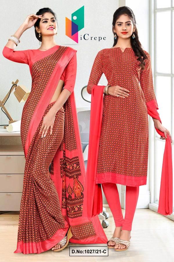 carrot-pink-small-print-premium-italian-silk-crepe-saree-salwar-kameez-combo-for-empoyees-uniform-sarees-1027-C