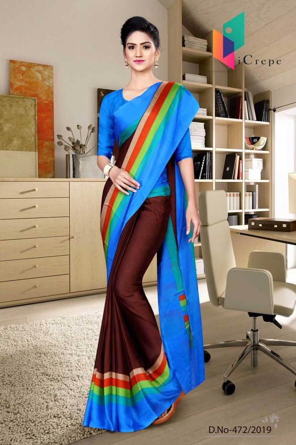 coffee-and-blue-italian-crepe-silk-hospital-uniform-saree-472