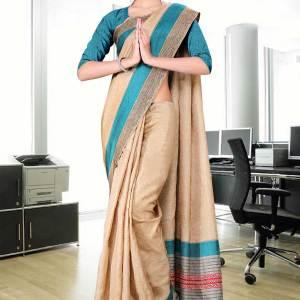 cream-blue-cotfeel-uniform-saree-08-15
