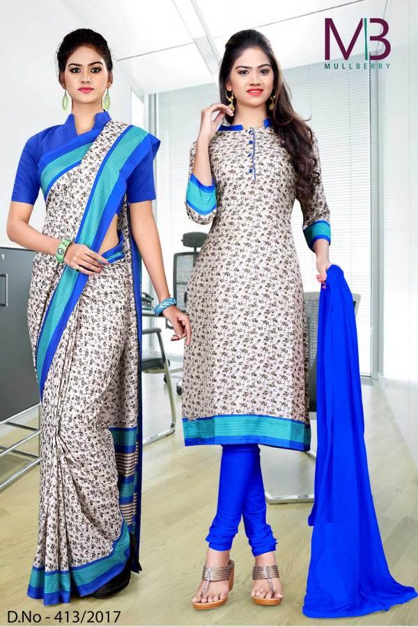 cream-blue-mulberry-silk-uniform-saree-salwar-combo-413