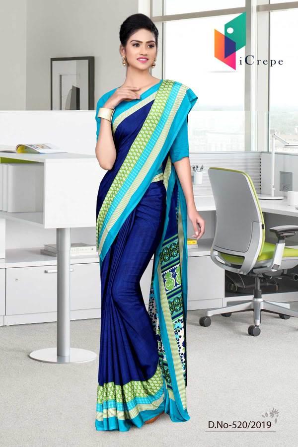 dark-blue-and-blue-italian-crepe-silk-staff-uniform-saree-520