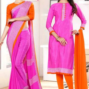 dark-pink-orange-premium-italian-silk-crepe-saree-salwar-combo-for-showroom-uniform-sarees-1034-C