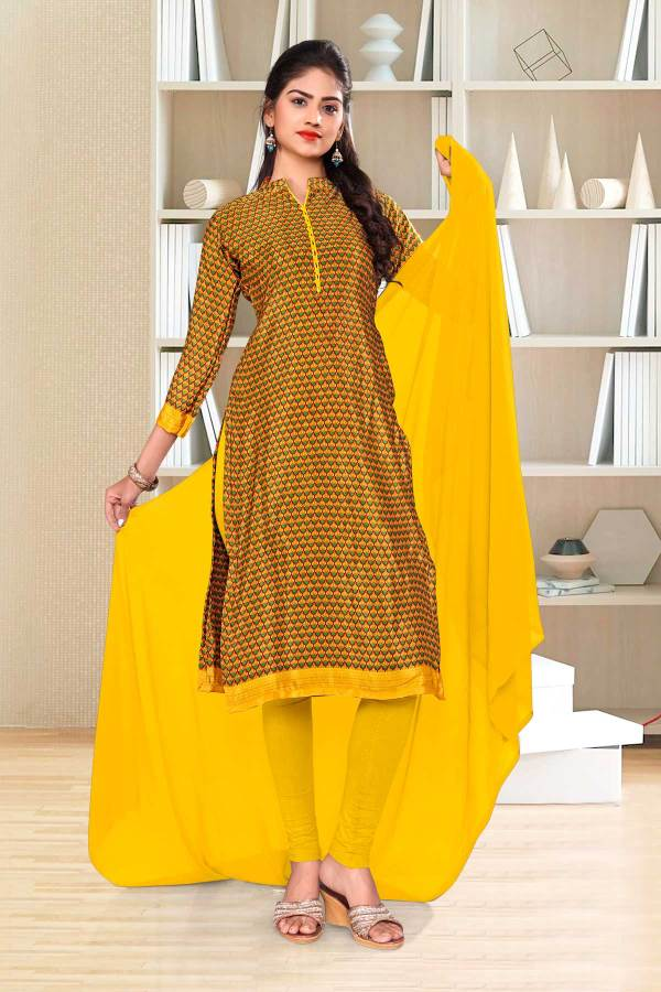 gold-yellow-small-print-premium-italian-silk-crepe-chudidar-for-institution-uniform-sarees-01023