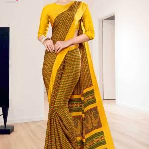 gold-yellow-small-print-premium-italian-silk-crepe-saree-for-institution-uniform-sarees-1023-21