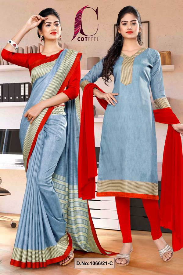gray-red-plain-border-premium-polycotton-cotfeel-saree-chudi-combo-for-workers-uniform-sarees-1066