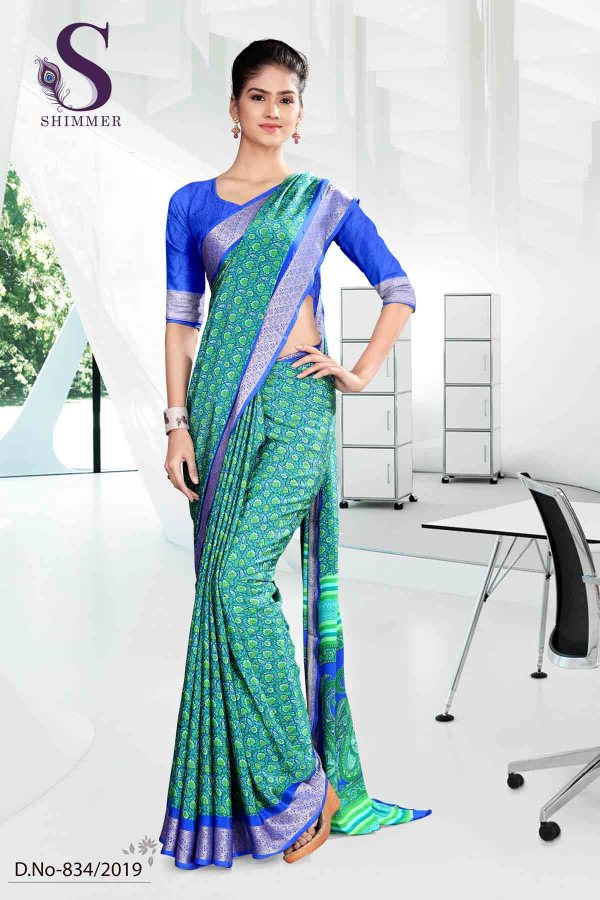 green-and-blue-institute-shimmer-uniform-sarees-834