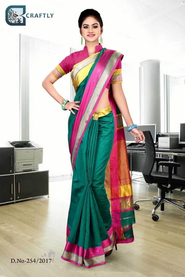 green-magenta-uniform-saree-254