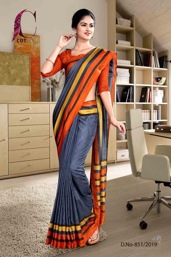 grey-and-orange-cotton-corporate-uniform-saree-851-19