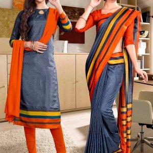 grey-and-orange-fancy-corporate-uniform-saree-salwar-combo-851-920