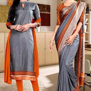 grey-and-ornge-fancy-corporate-uniform-saree-salwar-combo-857-927