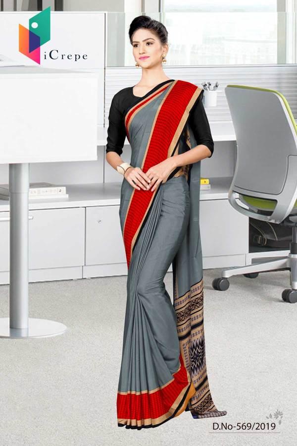 grey-and-red-italian-crepe-silk-anganwadi-uniform-saree-569