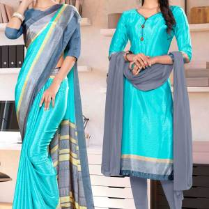 ink-blue-premium-italian-silk-crepe-saree-chudidar-combo-for-student-uniform-sarees-1018-C