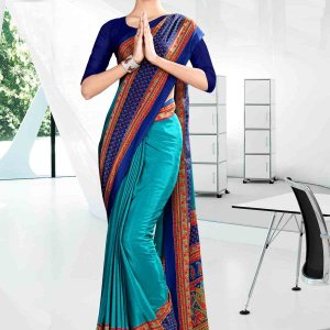 light-blue-and-blue-icrepe-corporate-uniform-saree-829-19