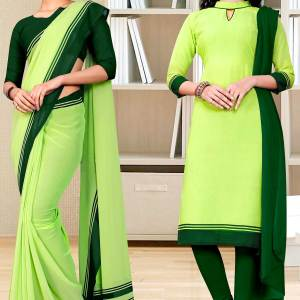 light-green-premium-georgette-plain-border-housekeeping-uniform-sarees-salwar-combo-for-workers-staff-1632-C