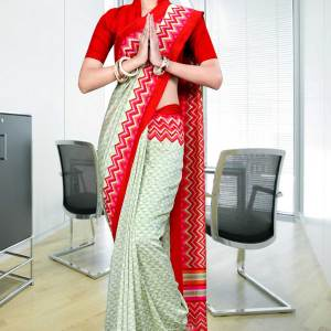 light-green-red-border-silk-georgette-uniform-saree-337