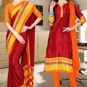 maroon-and-orange-italian-crepe-silk-staff-uniform-saree-salwar-combo-475-638
