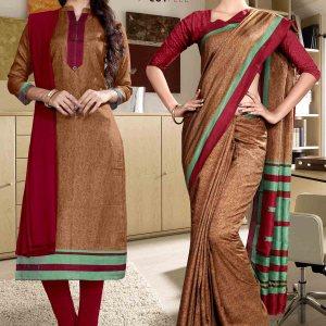 maroon-fancy-corporate-uniform-saree-salwar-combo-863-932