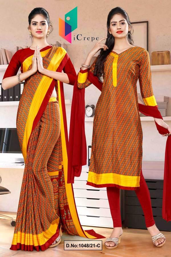 maroon-gold-multi-color-print-premium-italian-silk-crepe-uniform-saree-salwar-combo-for-hotel-staff-1048-C