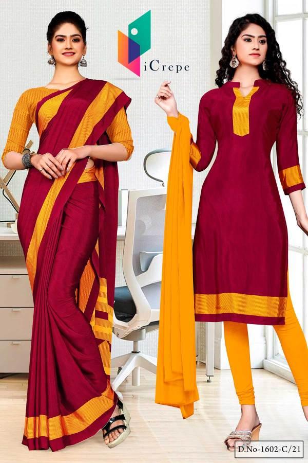 maroon-gold-premium-italian-silk-crepe-saree-salwar-combo-for-front-office-uniform-sarees-1602-C