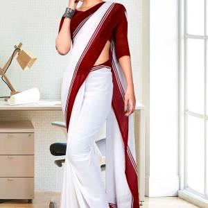 maroonn-white-premium-georgette-mother-teresa-hospital-uniform-sarees-for-cleaning-staff-1625