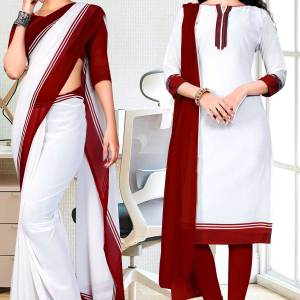 maroonn-white-premium-georgette-mother-teresa-hospital-uniform-sarees-salwar-combo-for-cleaning-staff-1625-C