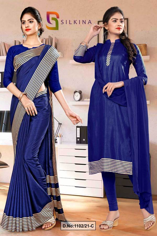 navy-blue-plain-border-premium-polycotton-raw-silk-saree-salwar-combo-for-teachers-uniform-sarees-1102-C