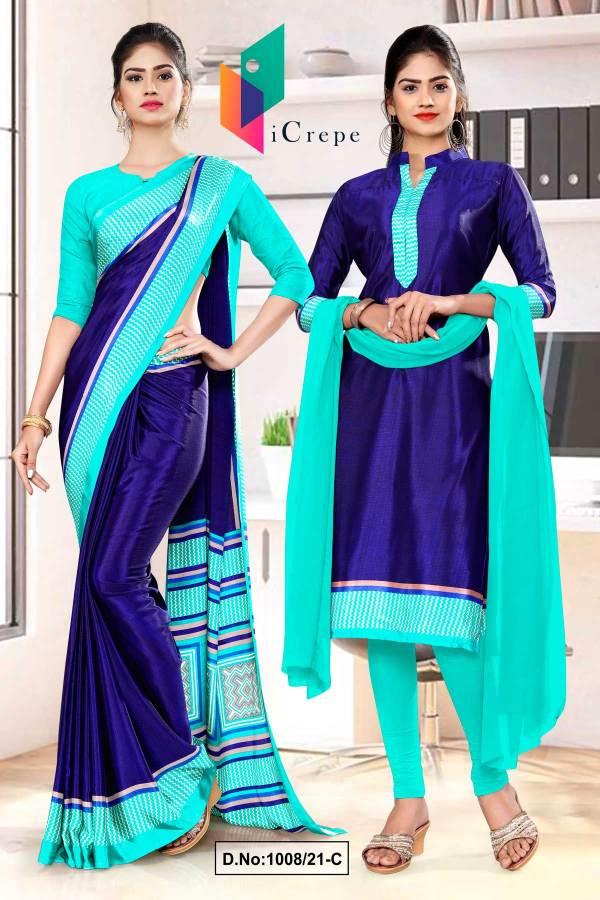 navy-blue-sea-green-premium-italian-silk-crepe-saree-salwar-combo-for-front-office-uniform-sarees-1008-C