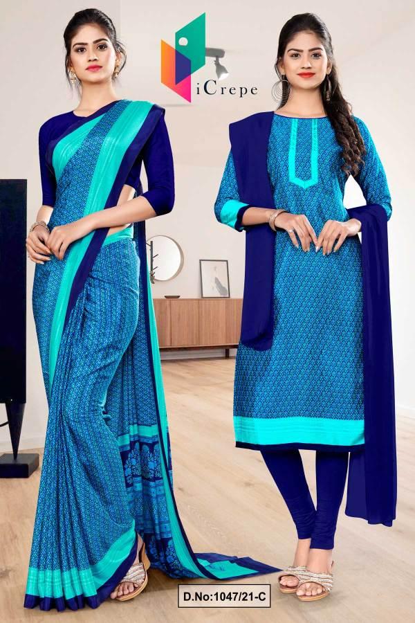navy-blue-sea-green-small-print-premium-italian-silk-crepe-uniform-saree-salwar-combo-for-institutions-1047-C