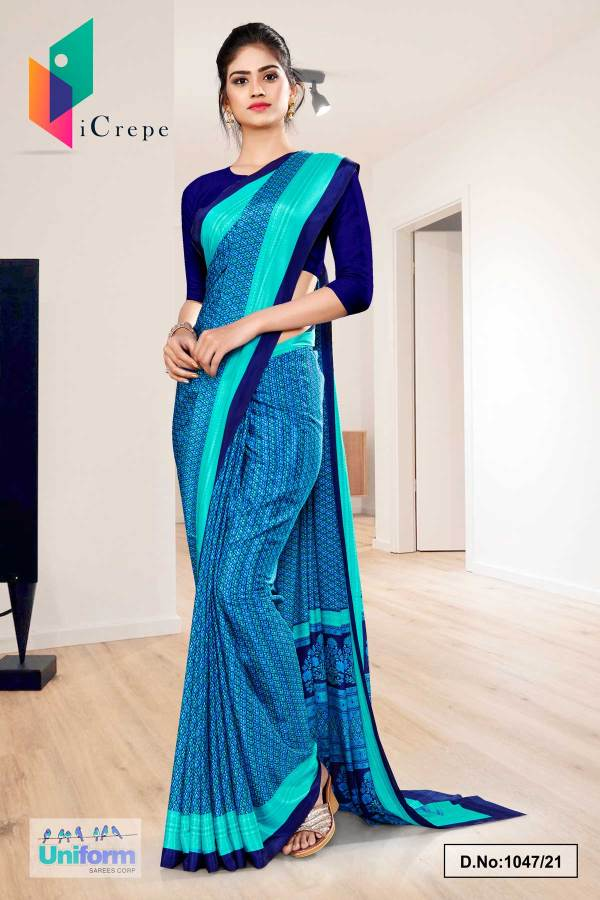 navy-blue-sea-green-small-print-premium-italian-silk-crepe-uniform-sarees-for-institutions-1047-21
