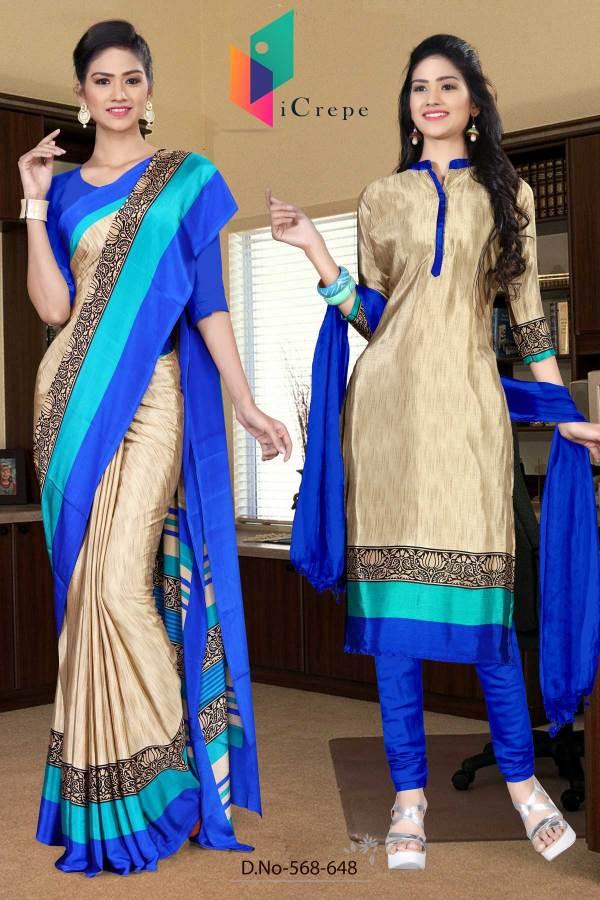 off-white-and-blue-italian-crepe-silk-office-uniform-saree-salwar-combo-568-648