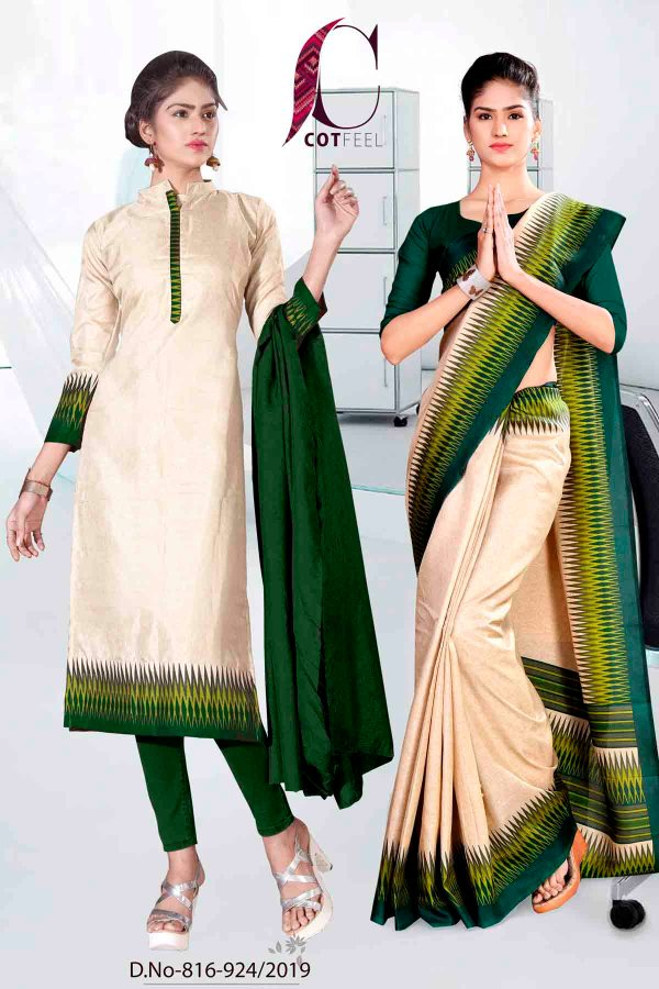 off-white-and-green-fancy-corporate-uniform-saree-salwar-combo-816-924