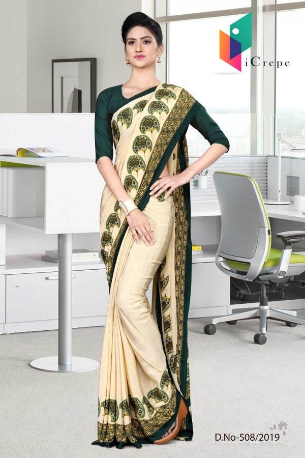 off-white-and-green-italian-crepe-silk-female-uniform-saree-508-19