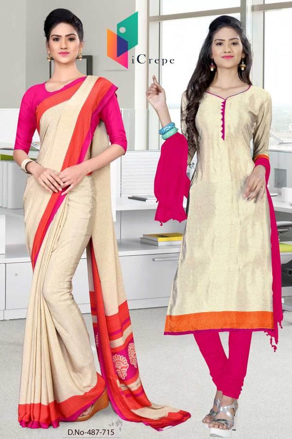 off-white-and-pink-italian-crepe-silk-office-uniform-saree-salwar-combo-487-715