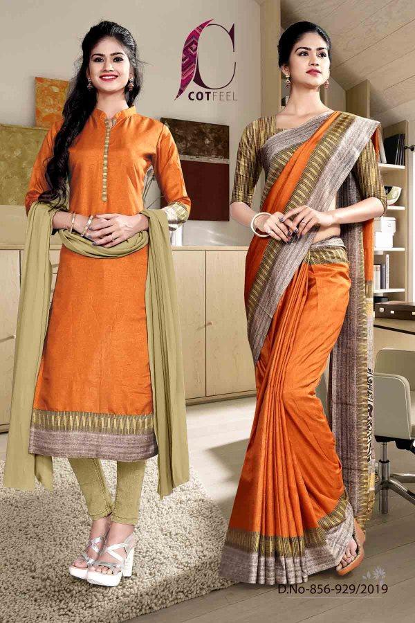 offwhite-and-orange-fancy-school-uniform-saree-salwar-combo-856-929
