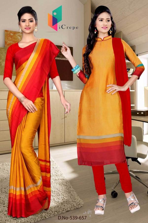 orange-and-red-italian-crepe-silk-showroom-uniform-saree-salwar-combo-539-657