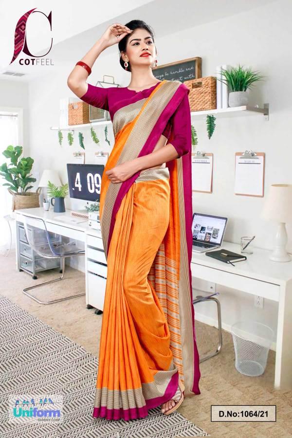 orange-wine-plain-border-premium-polycotton-cotfeel-saree-for-industrial-uniform-sarees-1064-21