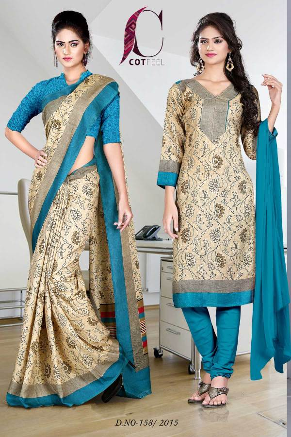 peacock-blue-uniform-saree-salwar-combo-158