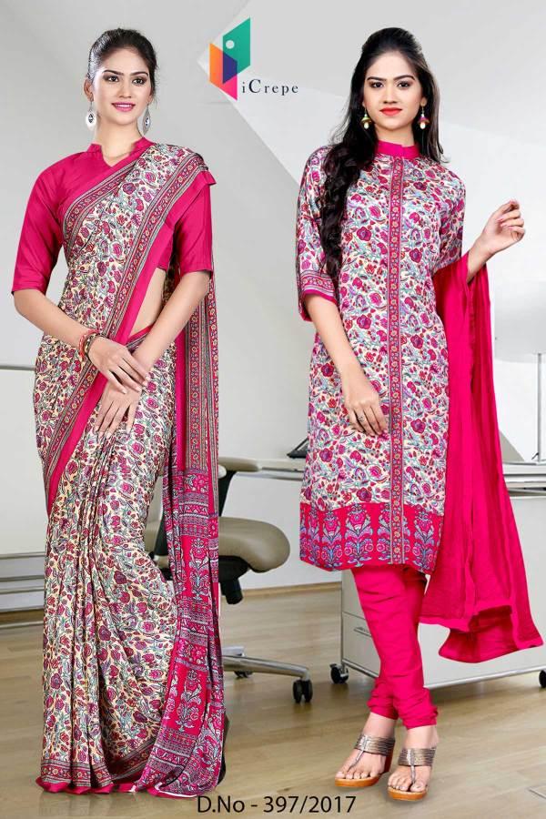 pink-cream-italian-crepe-uniform-saree-salwar-combo-397