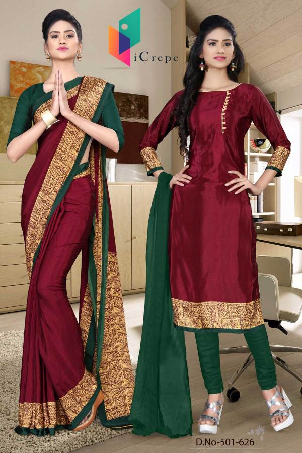 red-and-green-italian-crepe-silk-teachers-uniform-saree-salwar-combo-501-626
