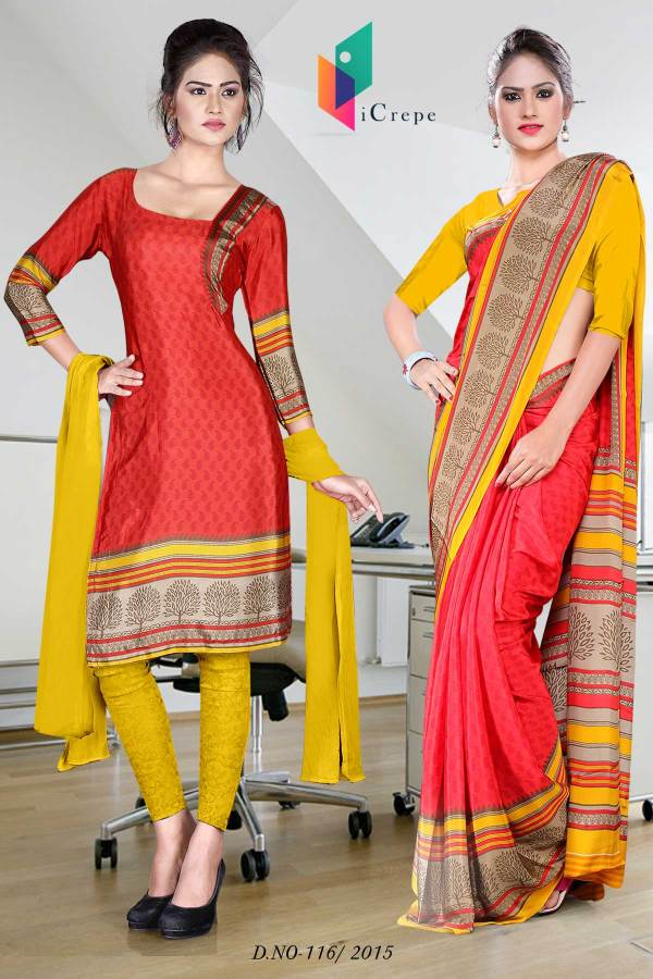 red-and-yellow-italian-crepe-uniform-saree-combo-116