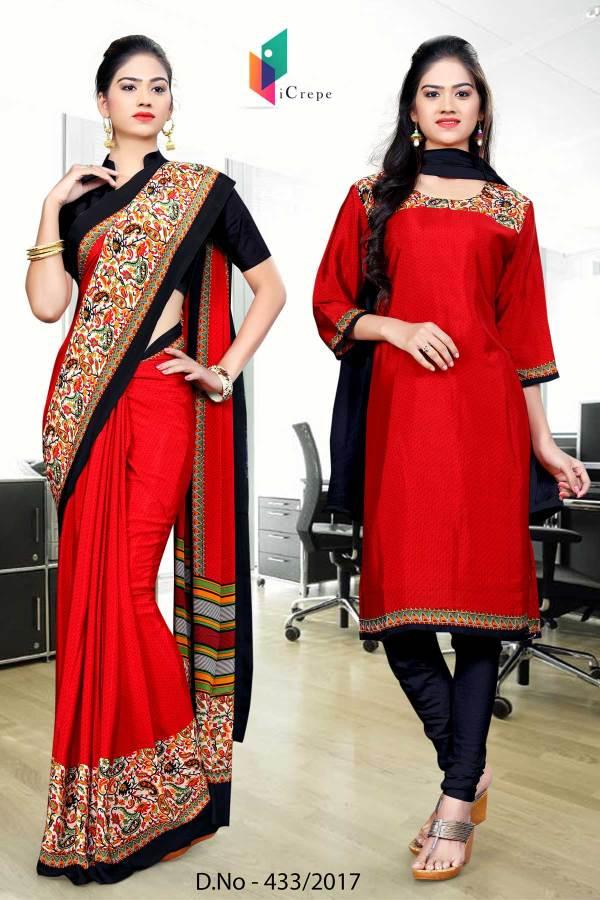 red-black-italian-crepe-uniform-saree-salwar-combo-433