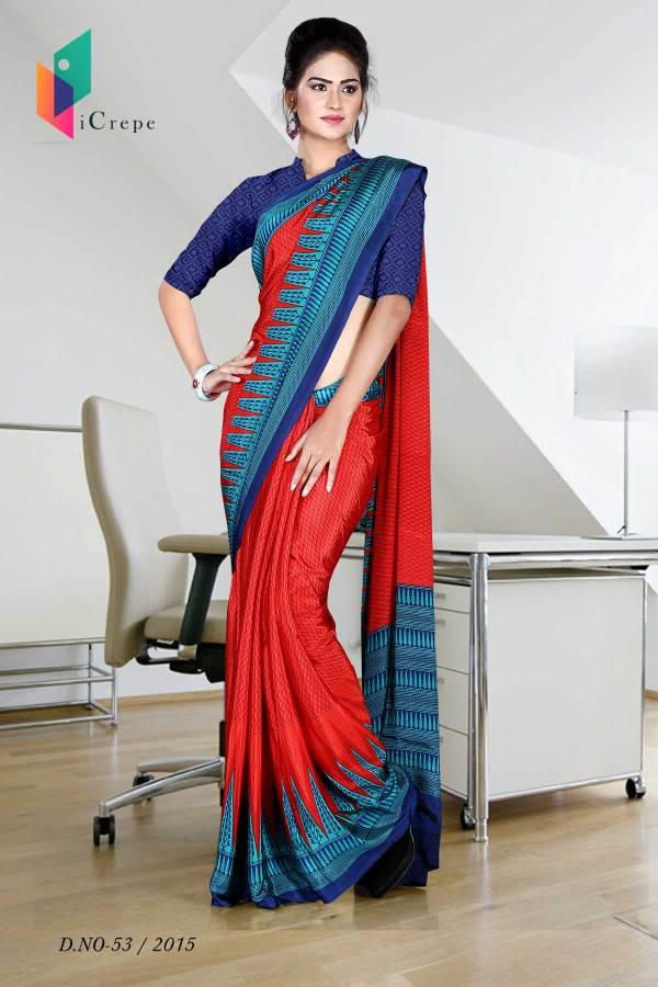 red-with-blue-border-italian-crepe-uniform-saree-53