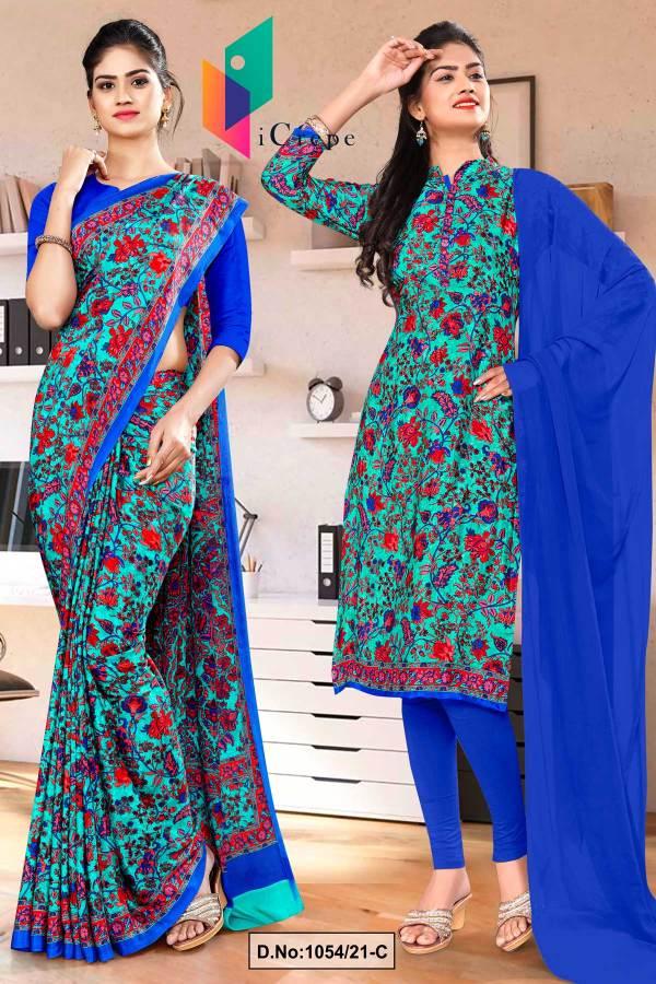 sea-green-blue-flower-print-premium-italian-silk-crepe-uniform-saree-salwar-combo-for-receptionist-1054-C
