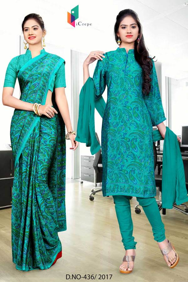 sea-green-italian-crepe-uniform-saree-salwar-combo-436