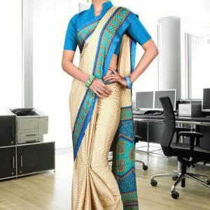beige-and-turquoise-jacquard-crepe-taj-hotel-uniform-sarees-238