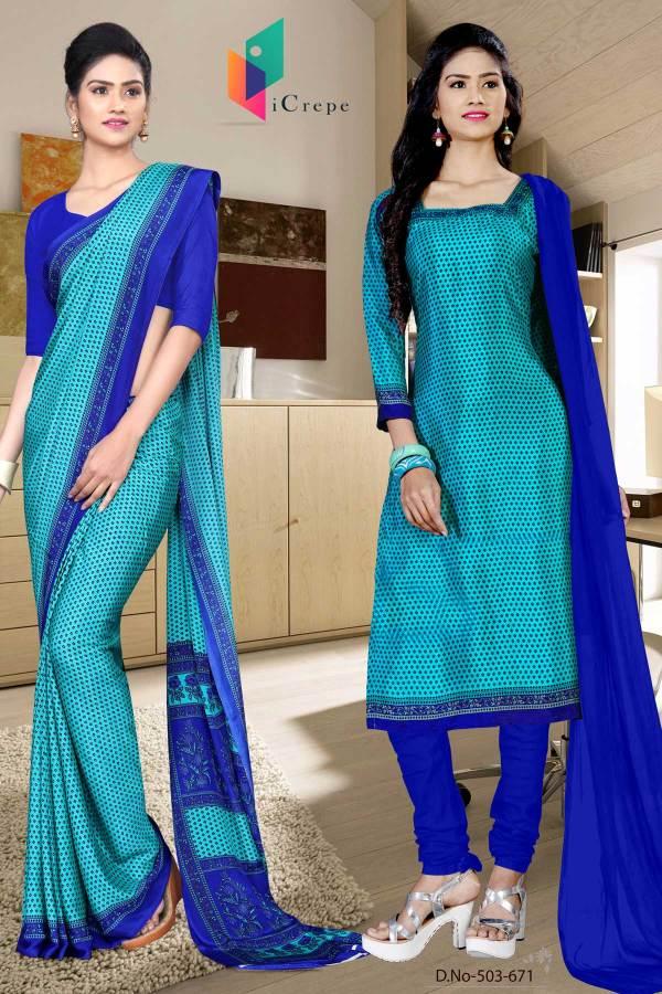sky-blue-and-blue-italian-crepe-silk-fancy-uniform-saree-salwar-combo-503-671
