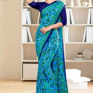 sky-blue-navy-blue-flower-print-premium-italian-silk-crepe-uniform-sarees-for-industrial-employees-1055-21